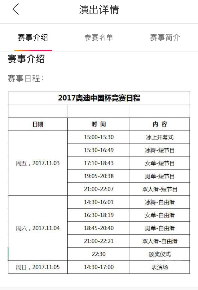 ISUグランプリ 中国大会スケジュール