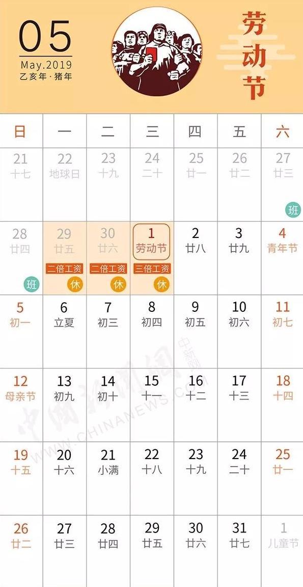 2019年中国の祝日5月